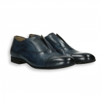 Blue calf Oxford shoes no-lace elastic closure shoes leather sole