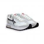 White nylon and laminated silver star Sneaker rubber sole