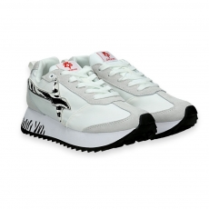 Sneaker Kiss white nylon and zebra star