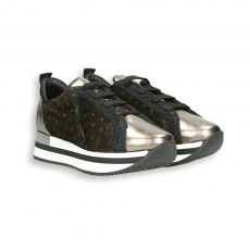 Gold laminated calf  and anthracite velvet ostrich fashion sneaker running sole