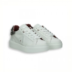 White calf sneaker jewel on the back rubber sole
