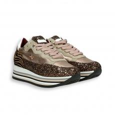 Running platinum calf and copper glitter , back detail zebra rubber sole
