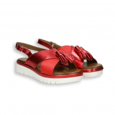 Red leather and laminated elastic crossed belt tassels sandal platform 40 mm. rubber sole