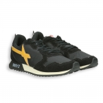 Running black suede and nylon with yellow detail rubber sole