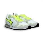Sneaker in grey suede and white nylon fluorescent  detail running sole