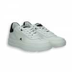 White calf and Black detail Tennis sneaker rubber sole