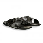 Dark Brown crossed belt with buckle slip-on man rubber sole