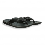 Black  vintage calf flip-flop rubber sole