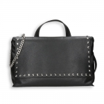 Black calf with stud detail large bag detach. shoulder belt and chain Size 37x8h35 cm.
