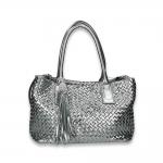 Silver intrecciato calf mid handbag with det. shoulder belt and charms size 33x16H27 cm.